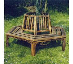 Garden Wooden Tree Seat Up To 6 Outdoor Bench Furniture Patio Yard Companion New