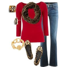 Red Top & Leopard Scarf Outfit.
