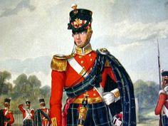 1909 Antique British Scottish Army Military Uniform 74th Highlanders Highland Light Infantry Soldier Color Print