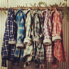 Lots of plaid flannel shirts. Great for winter