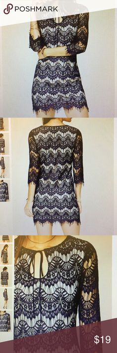 Forever 21 Lace Dress Navy and nude color. Only worn once! Currently sold out on the F21 website Forever 21 Dresses Mini