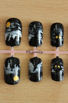 Halloween Nails Tombstones Witches Werewolves Haunted by misunis, $15.50