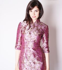 Vintage Cheongsam / Vintage Ombre Dress / Metallic by aiseirigh, $172.00