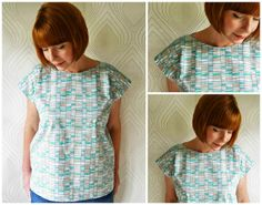 Portia's no-pattern-required summer top tutorial | The Village Haberdashery: sew from one rectangle!