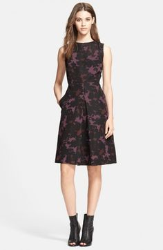 Burberry London Print Mulberry Silk Fit Flare Dress | Clothing