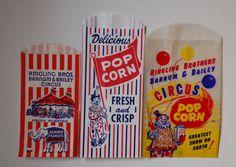 Vintage popcorn bags