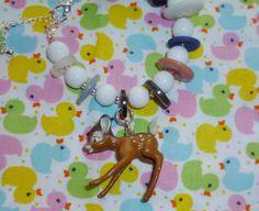 Button and vintage bead bracelet with deer charm  by NiNEFRUiTSPiE, £3.50