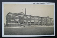 PA Athens New Athens High School Vintage Postcard Published Messner's Druggist | eBay