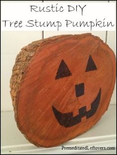Rustic DIY Craft Project: Tree Stump Pumpkin | Premeditated Leftovers