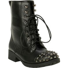 Cone Stud Toe Combat Boot Hot Topic ($40) ❤ liked on Polyvore featuring shoes, boots, ankle booties, military boots, tall lace up boots, military lace up boots, studded boots y cap toe boots