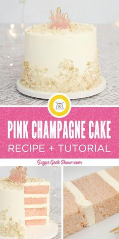 Pink Champagne Cake Recipe – Sugar Geek Show - The best pink champagne cake made with real champagne, light and fluffy vanilla buttercream frosting and decorated with beautiful rock candy and an edible pink crystal on top! Happy New Years cake anyone? Cakes To Make, How To Make Cake, Vanilla Buttercream Frosting, Vanilla Cake, Chocolate Buttercream, Vanilla Dream Cake Recipe, Cupcake Recipes, Cupcake Cakes, Dessert Recipes
