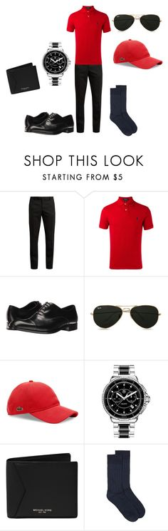 """""""Untitled #199"""" by rosshandmadecrafts ❤ liked on Polyvore featuring Yves Saint Laurent, Polo Ralph Lauren, Emporio Armani, Topman, Lacoste, TAG Heuer, Michael Kors, men's fashion and menswear"""