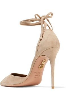 Heel measures approximately 105mm/ 4 inches Pale-beige suede Ties at ankle Designer color: Biscotto Made in Italy