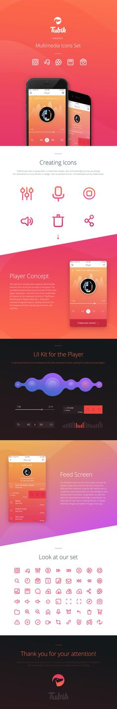 Multimedia Icons Presentation, Ui kit design by Tubik Studio