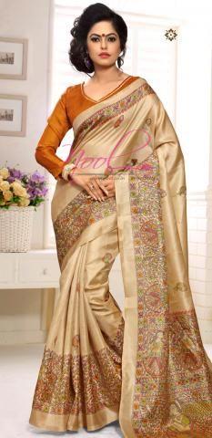 Latest New Design Khadhi Silk Sari Brown Casual Collection BZ5315D80350