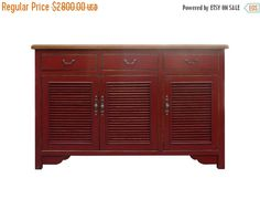 25% OFF SALE Oriental Red Lacquer Shutter by GoldenLotusAntiques
