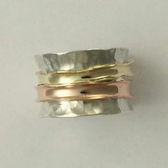 Wedding band Spinner ring Sterling silver with by artisanlook