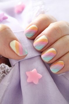 Diagonal stripe nail designs with light colors. Lovely nails while not distracti. Diagonal stripe nail designs w. Nail Art Designs, Striped Nail Designs, Striped Nails, Nail Designs Spring, Blue Nail, Love Nails, How To Do Nails, Pretty Nails, Nails Opi