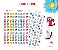 Petrol Pump, Gas Bomb, Fuel, Planner Stickers, To do Stickers, Life Planner Stickers, Erin Condren, Personal Planner, Happy Planner, Filofax by SandiaStickers on Etsy