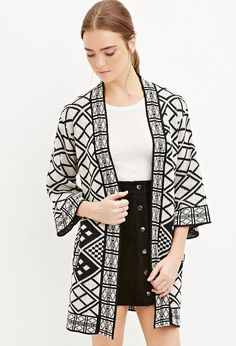 Cozy up with a cardigan sweater from Forever 21 for those cool evenings. Our line of women's cardigans includes open-front, longline, button-front and more! Style And Grace, My Style, Longline Cardigan, Jamie Chung, Long A Line, Kimono Top, Forever 21, Geo, Pattern