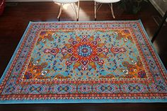 cool Oriental Traditional Isfahan Persian Light Blue Navy White Orange Yellow Crimson Red Area Rugs Rug New City Collection 8023