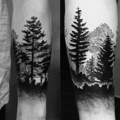 Nature forearm tattoo trees forest