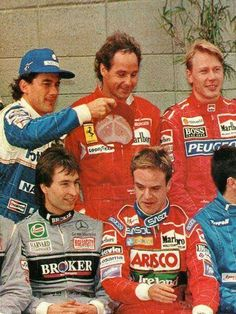 Ayrton Senna, Gerhard Berger, Mika Hakkinen, Heinz-Harald Frentzen, and the now hatless Rubens Barrichello Formula 1, Grand Prix, F1 Motorsport, Gerhard Berger, Nascar, F1 Drivers, F1 Racing, F 1, Race Cars