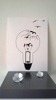 Affiche Illustration Noir et blanc ampoule liberté