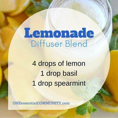 lemonade essential oil diffuser blend -- it's light, refreshing, and energizing.  Perfect for a summer day!  plus find 40 more of my favorite summer diffuser blends here along with a free printable of all the recipes.