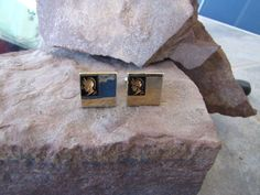 Vintage Cufflinks Gold coloured squares featuring Roman Soldiers in each corner. Great gift for the Historian.