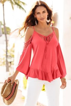 Crochet sleeve cold-shoulder top