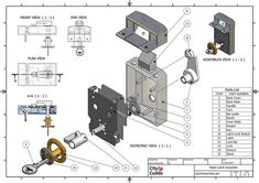 model - Latch Assembly Case Study 2007 on Behance Mechanical Engineering Design, Mechanical Design, Sheet Metal Drawing, Autocad Isometric Drawing, Surface Modeling, 3d Modeling, Solidworks Tutorial, Cnc Software, Fusion Design
