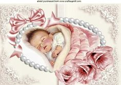 Cute Baby Girl in pearl frame with satin bow A4 on Craftsuprint designed by Nick Bowley - Cute Baby Girl, in pearl frame with satin bow A4, makes a pretty baby card, also can be seen in other designs, Also can be seen in A5 - Now available for download!