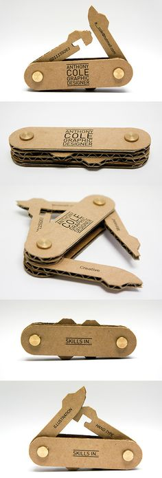 I'm pinning this clever Anthony Cole business card here because it's made from corrugated packaging PD