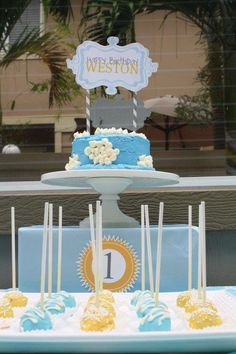 Yellow, baby blue, and grey Sunshin' skies Birthday Party Ideas | Photo 39 of 40 | Catch My Party