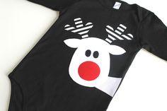 White Reindeer One Piece T Shirt - Black Stripe Christmas by RebelandHeart on Etsy https://www.etsy.com/listing/114955279/white-reindeer-one-piece-t-shirt-black