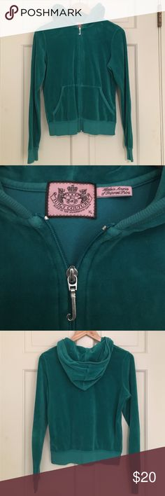 Teal Juicy Couture Zip Sweatshirt Sweatshirt to Juicy Couture Tracksuit. Hooded. Will sell as a set with sweatpants. Juicy Couture Tops Sweatshirts & Hoodies