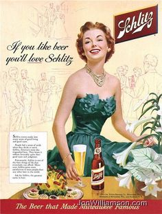 Pin for Later: Cheers! A Look Back at Beer Advertising For Women It'd take a lot of beer to eat whatever that appetizer is . . . cheese ball with olives and weiner dogs, anyone?