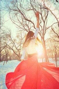 Sunshine Snowy Field Happy Gir Back #iPhone #4s #wallpaper