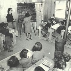 classroom and woodstove, Greece