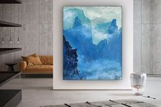 Abstract Landscape Canvas Art Original Art Deco Acrylic image 3 Large Painting, Acrylic Painting Canvas, Canvas Art, Large Canvas, Original Artwork, Original Paintings, Oversized Wall Art, Colorful Artwork, Bathroom Wall Art