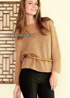 Мохеровый пуловер-реглан цвета карамели. Изделие вяжется по кругу сверху вниз