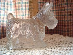 Scotty Dog Glass Candy Container with Original Lid Vintage 1940/'s Era