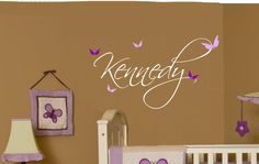 Baby Girl Butterfly Name Wall Decal Nursery Decor by AllOnTheWall, $17.00