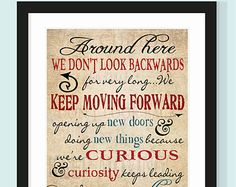Walt Disney Keep Moving Forward Quote - 11x14 - Buy ANY 2 Prints Get 1 FREE! Typographic Print - Wall art, inspirational, encouragement