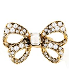 Betsey Johnson Ring, Large Bow Stretch Ring