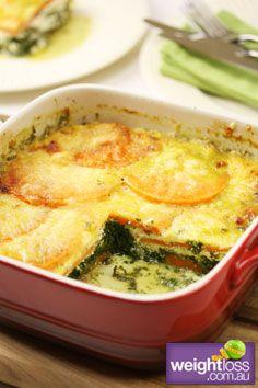 Healthy Vegetarian Recipes: Sweet Potato & Spinach Bake. #HealthyRecipes #DietRecipes #WeightlossRecipes weightloss.com.au