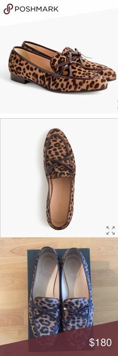 JCrew Academy Calf hair Loafer JCrew Academy Calf hair Loafer in Camel Black. Cheetah print. Hardly been worn. Practically new. Very clean. J. Crew Shoes Flats & Loafers