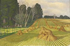 The Cornfield with Stooks by John Nash c. 1918 Oil on Canvas (Private Collection) Abstract Landscape, Landscape Paintings, Uk Landscapes, Nature Paintings, John Nash, Best Artist, Beautiful Paintings, Painting Prints, Oil On Canvas