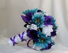 Teal Bridal accessories Wedding Bouquet Purple by AmoreBride